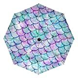 Paraguas compacto de viaje con diseño de sirena para el sol, para el coche, plegable, reversible, resistente al viento, protección UV, mango ergonómico, apertura y cierre automático