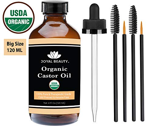 Castor Oil (4 OZ) USDA Organic 100% Pure Cold-Pressed Hexane-free Premium Quality Large Size for Hair Growth, Eyelashes, Eyebrows, Beard and Skin by Joyal Beauty. Bonus FREE Mascara Kit Included