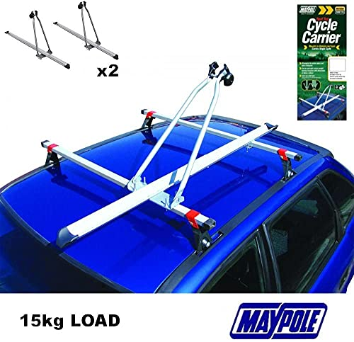 MP Essential 2 x Car Roof Mounted Upright Cycle Bike Travel Rack Holder Carrier - Transport 2 Bikes - 15kg each