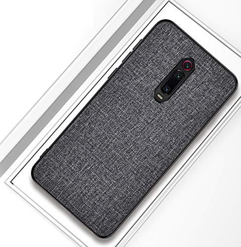 Domxteck Cubierta Trasera Dura de PU de Tela + Funda de Silicona Blanda TPU con Parachoques Todo Incluido Resistente a Las roturas para la Funda para Xiaomi Redmi K20 Pro/K20/Xiaomi 9t/9t Pro-Negro