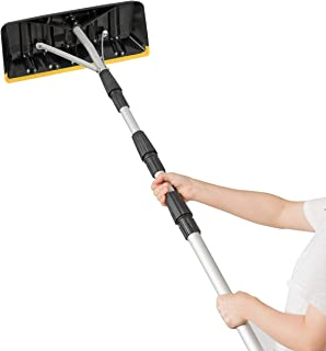 Goplus Roof Snow Rake 21ft Extension Light Weight Aluminum Roof Snow Removal Tool (Black)