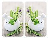 Wenko herdabdeckplatte universal kräutergarten, 2er set, für alle herdarten, gehärtetes glas, 30 x 52 cm, mehrfarbig