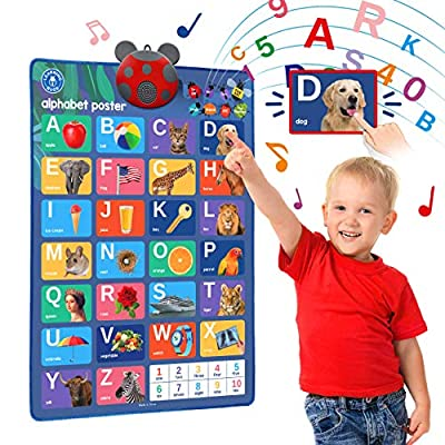 LEARNING BUGS Interactive ABC & 123s Talking Poster & Musical Wall Chart, Best Educational Toy for 2 Year olds and 3 Year olds. Electronic Toddler Toys for Boys & Girls. by Learning Bugs