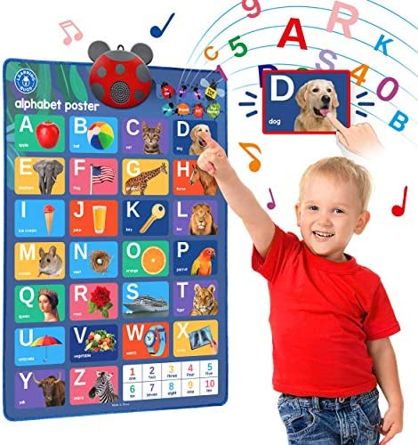 LEARNING BUGS Interactive ABC 123s Talking Poster Musical Wall Chart Best Educational Toy for product image