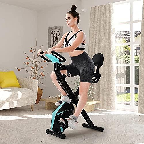 Bicicleta Plegable con Pantalla LCD de Altura Ajustable y Brazo de Resistencia de Brazo para Entrenamiento al Aire Libre Azul / Negro-Azul