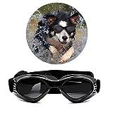 Turphevm Pet Goggles, Stylish Dog Sunglasses for UV Stop Waterproof Windproof Anti-Fog Eye Protection (Black)