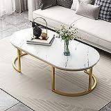 Table Basse, Ovaler Table De Salon Conception Simple Table TV Table De Canapé avec Pattes MéTalliques Robustes Montage...