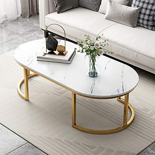 Table Basse, Ovaler Table De Salon Conception Simple Table TV Table De Canapé avec Pattes MéTalliques Robustes Montage Facile Table Basse De Salon Petite Table Basse