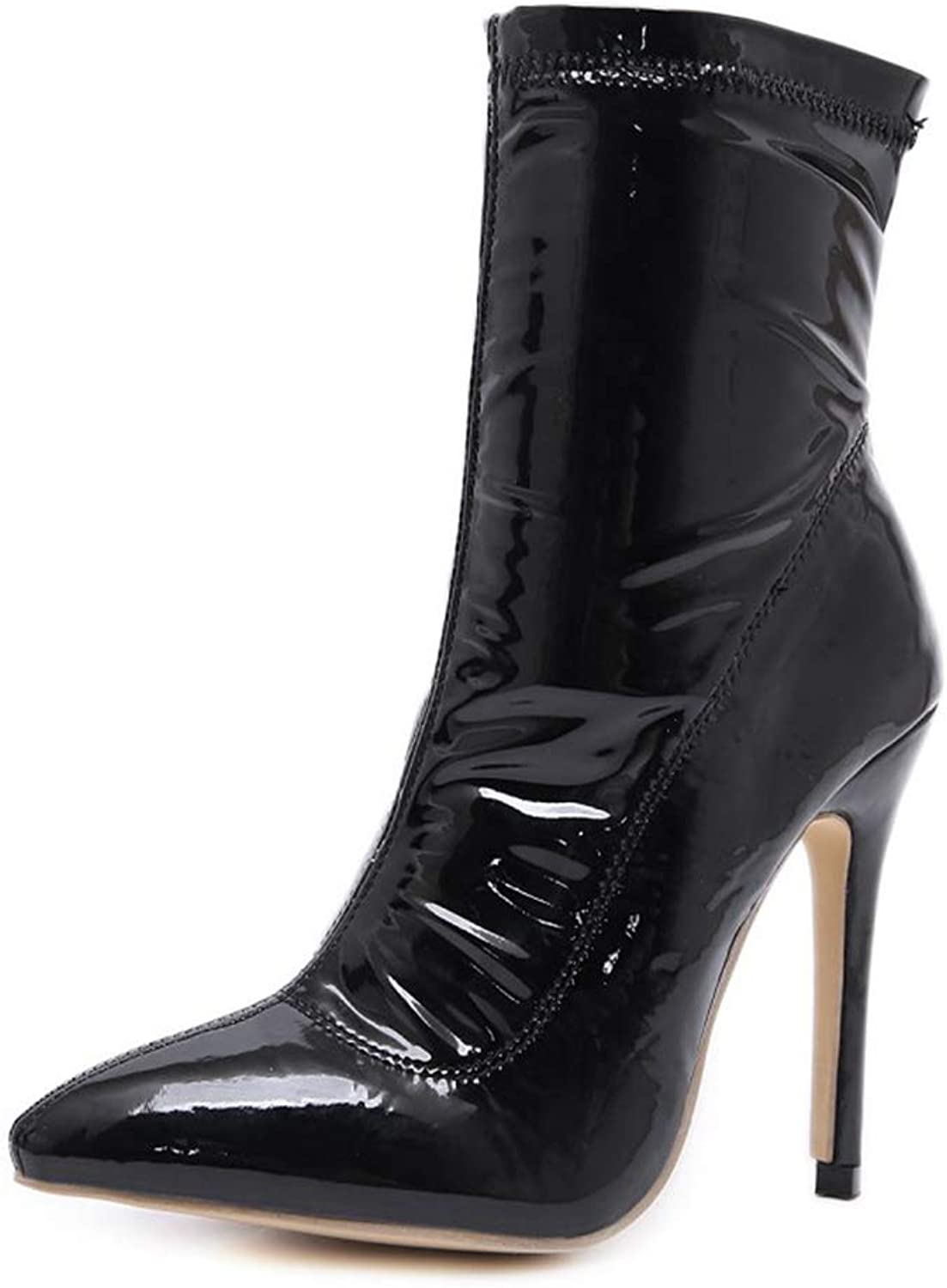 LVYING Women's Classic Pointed Toe Ankle Boots Stiletto High Heel Short Booties Patent Leather shoes