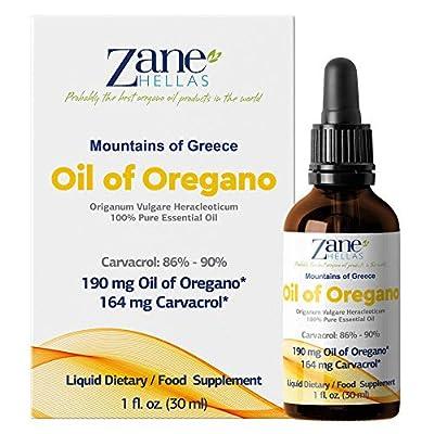 SUPER 100. 100% Pure Greek Wild Essential Oregano Oil.Min 86% Carvacrol. 1 fl.oz. - 30ml. 129 mg Carvacrol per Serving. by zane hellas