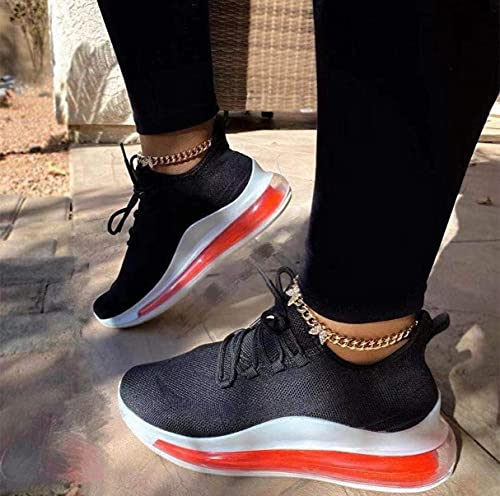 ZQ&QY Donne Primavera Scarpe Bianche Piattaforma Angoli Scarpe Comodo Maglia Casual Femminile Scarpe Sportive Comfort Piatto Scarpe da Passeggio Scarpe sneakersred, Viola, Nero,Nero,35