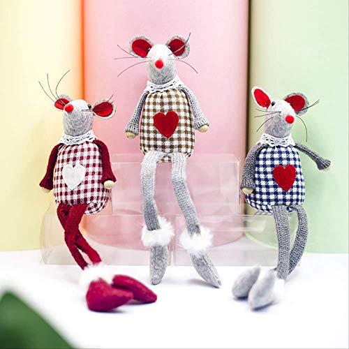 GIAO Figurine Ornamenti Figurine Decorazioni Natalizie Panno Plaid Filato Natalizio Mouse Lungo Piede Decorazione Figurine Regalo di Natale