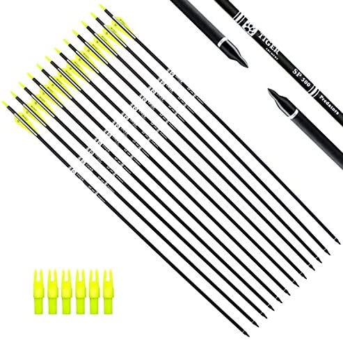 Best Tiger Archery 30Inch Carbon Arrow Practice Hunting Arrows with Removable Tips for Compound & Recurve