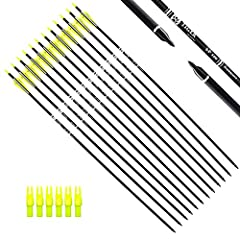 "Length:30"", Outer diameter: 0.309 inch. Fletching with 2 Yellow 1 White vanes. For draw weight 40-60 pounds recurve, compound, or long bows. They are solid & well made. Precision carbon hunting arrows made for extended durability and long lasting tar..."