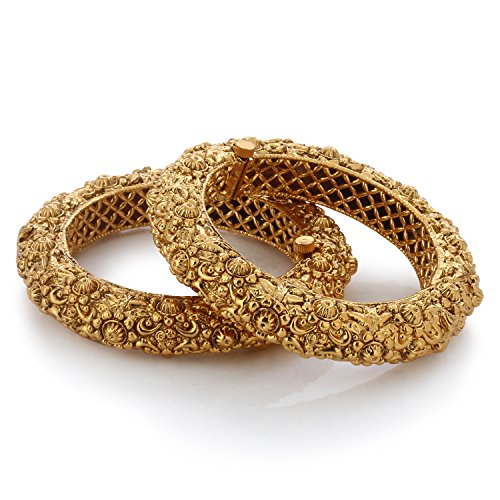 [LIEFERUNG IN 8-12 Werktagen] Armreif Set indischen Bollywood Style 22K vergoldet indischen Bollywood Stil Traditionell Geschnitzte Gold vergoldet Armreifen für Damen