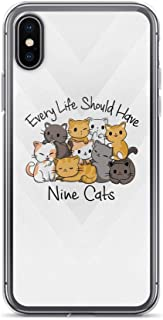 Compatible for iPhone 7/8 Every Life Should Have Nine Cats - Quote Kitten Lover TPU Anti Bumps Scratches Cover
