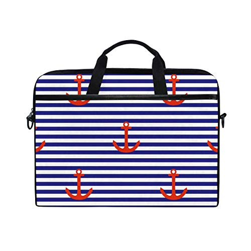 Laptop Sleeve Case,Laptop Bag,Blue Stripe Nautical Anchor Pattern Water Briefcase Messenger Notebook Computer Bag with Shoulder Strap Handle,28.5×38 CM/14 Inch