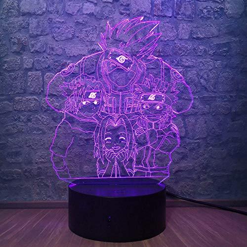 3D Illusion Lampe Led Nachtlicht Naruto Acryl Cartoon Kinder Kakashi Sasuke Sakura Usb Tischlampe 7 Farbwechsel Schlafzimmer Dekor Geschenke
