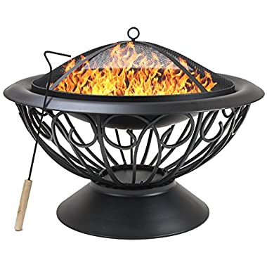 Sorbus Fire Pit Large, 30  Outdoor Fireplace, Backyard Patio Fire Bowl, Safety Mesh Cover and Poker Stick, Stylish Decorative Scroll Base, Great for Outdoor Heating, Bonfire, Grill, Picnic, Campfire