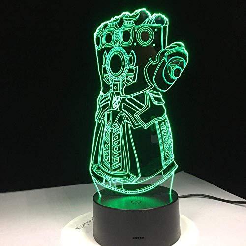 Lámpara de ilusión 3D Luz de noche LED Creativo Thanos Infinity Gauntlet Avengers Infinity War Guantes Novedad Lámpara de escritorio Los mejores regalos de vacaciones de cumpleaños para niños