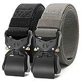 Chaoren 2 Pack Mens Quick Release Tactical Belt 1.5', Casual Military Riggers Web Belts for Men, Heavy Duty Cobra Work Belt(casual belt)
