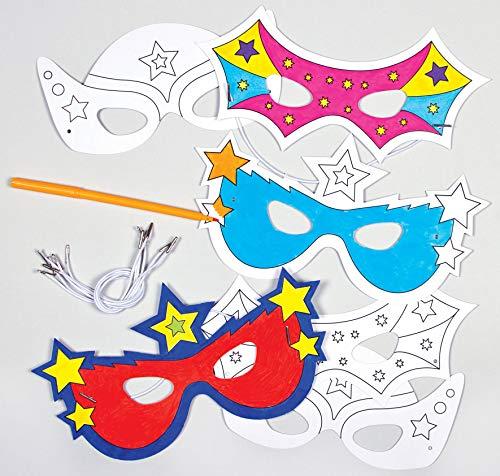 """Baker Ross Masken """"Superhelden"""" zum Ausmalen (6 Stück) - für Kinder ideal zum Kindergeburtstag und Karneval"""