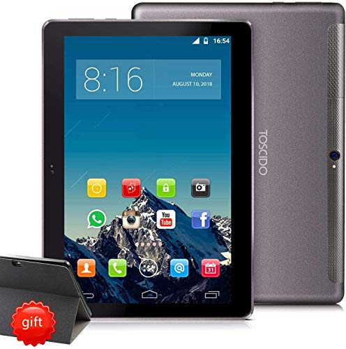 TOSCIDO 4G LTE Tablet 10 Pollici 1920*1200 IPS - Android 10.0 ,4GB + 128GB ,Octa Core ,Double Sim,WiFi,Double Haut-Parleur Stéréo,6000mHA,Type-C - Gris