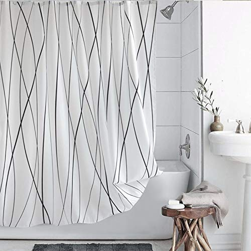 VIS'V Shower Curtain, Water Resistant Polyester Fabric Shower Curtain 72 x 72 Inch Machine Washable Shower Curtain with 12 Hooks for Bathroom - Black and White