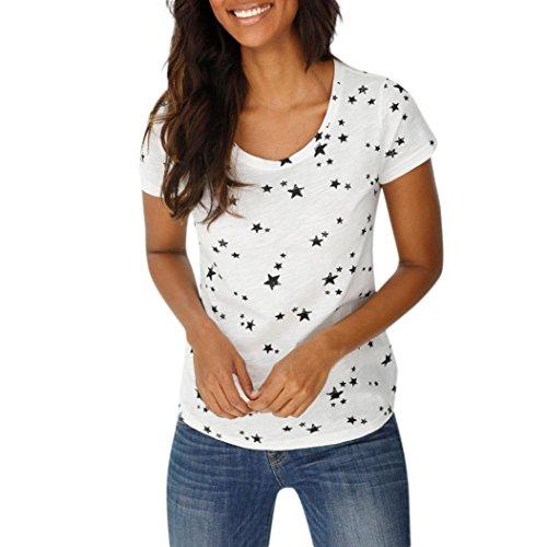 MRULIC Sommer Strand T-Shirt für Frauen und Mädchen Lose Sternchen Casual T-Shirt und Tops(H-Weiß,EU-38/CN-M)