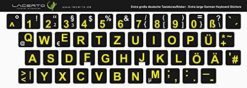 Lacerto® | Extra grote tekens, Duitse toetsenbordsticker voor slechtzienden en senioren, met mat beschermend laminaat 13x13 mm zwart