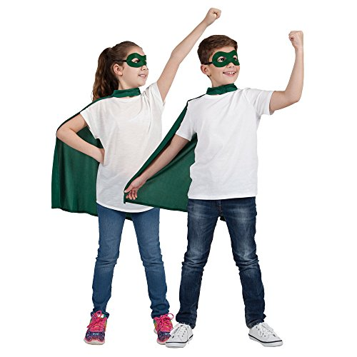 Childs Green Super Hero Cape & Mask Fancy Dress Costume