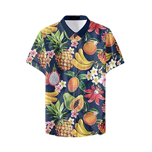 Fansu 3D Camisa Hawaiana para Hombre, Fiesta Tropical de Manga Corta Impreso Camisas de Trabajo Surf Funky Camisa Señores Playa (2XL,Fruta)