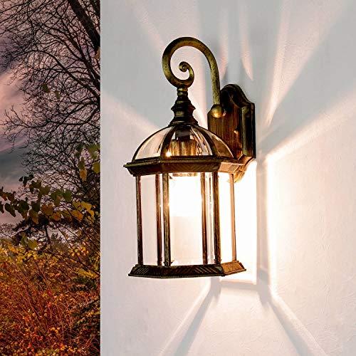 Rustikale Wegbeleuchtung Garten WIEN E27 Glas 41cm hoch Außen Wandleuchte Gold Antik Balkon Terrasse