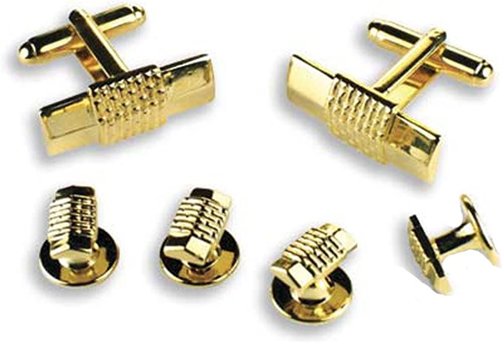 Gold Rectangle with Brick Design Tuxedo Cufflinks and Studs