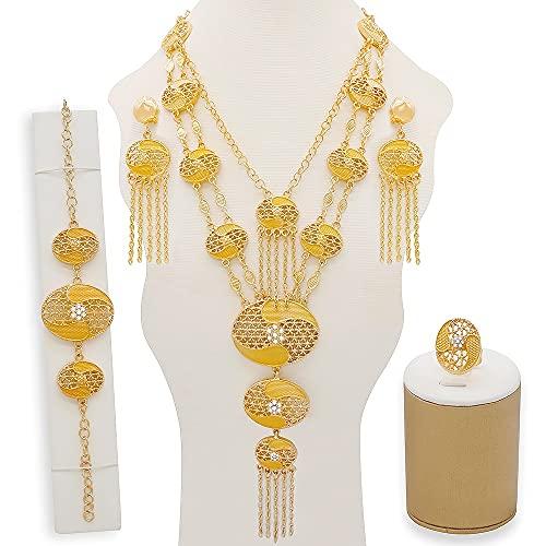 QXZ-WOLFBERRY Conjunto de Joyas de Pendientes de Collar de Lujo, para Mujeres Conjuntos de Collar Africano en Gold Girls Elegant Bridal Body Party Regalos (Metal Color : CJ1026)