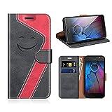 MOBESV Smiley Motorola Moto G5S Hülle Leder, Motorola Moto G5S Tasche Lederhülle/Wallet Hülle/Ledertasche Handyhülle/Schutzhülle für Motorola Moto G5S, Schwarz/Rot