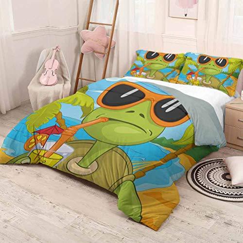 HELLOLEON Turtle Paquete de 3 (1 funda de edredón y 2 fundas de almohada) Ropa de cama Cool Sea Turtle con gafas de sol Beber Cóctel en la playa Cartoon Poliéster (completo) Verde Naranja Pálido Azul