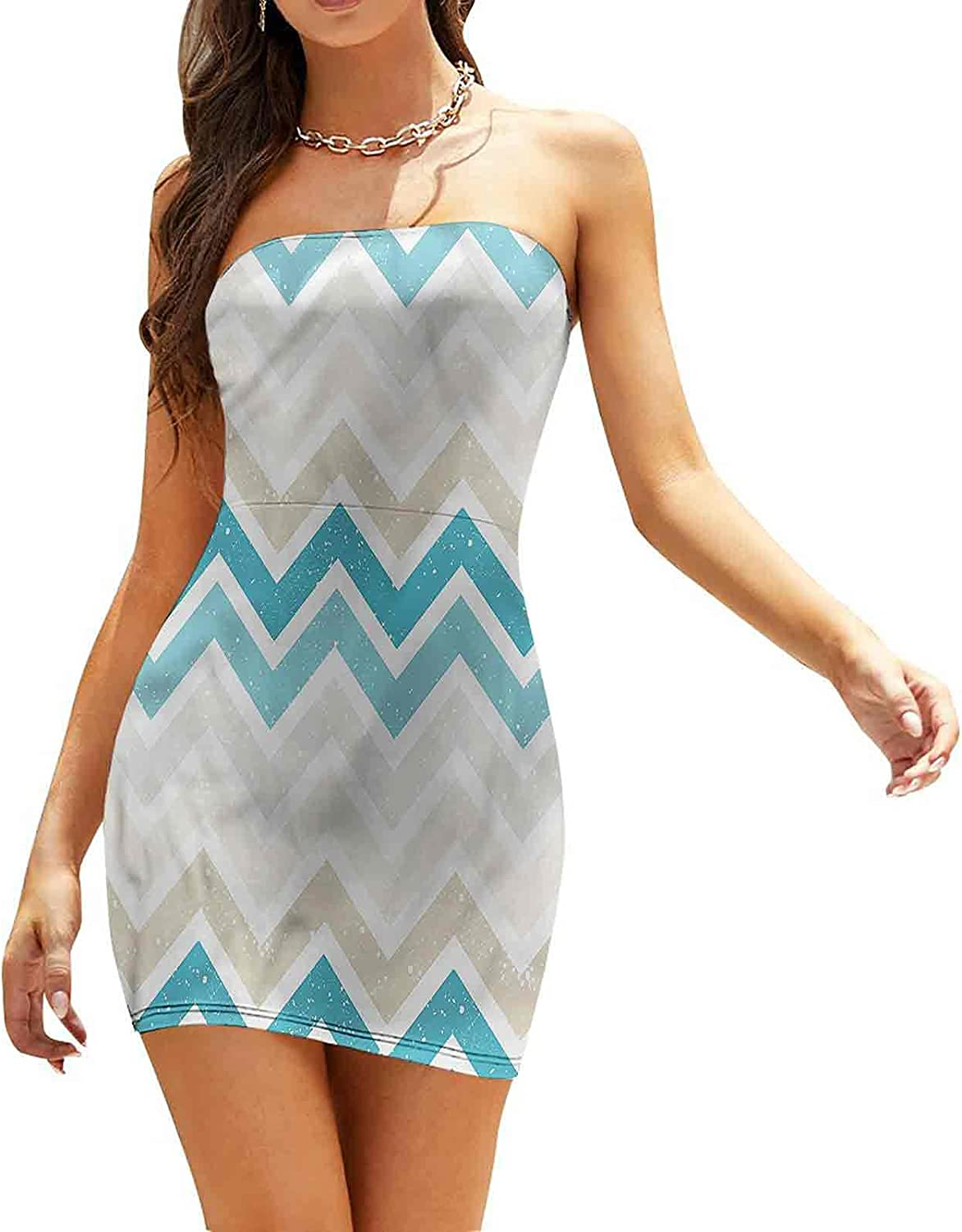 Women's Sleeveless Sexy Tube Top Dress Early Morning Sky in Blue Dresses