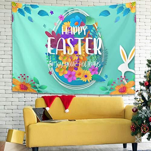 Ballbollbll Tapiz de Huevo de Conejo de Pascua para colgar en la pared, manta de picnic para decoración de pared, blanco 149,8 x 129,5 cm