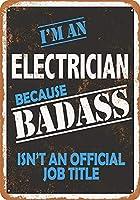 アルミ金属サインティンサイン、Badass電気技師錫壁サイン警告サイン金属プラークポスター鉄絵画アート装飾用バーカフェ&キュートホテルオフィス寝室ガーデン
