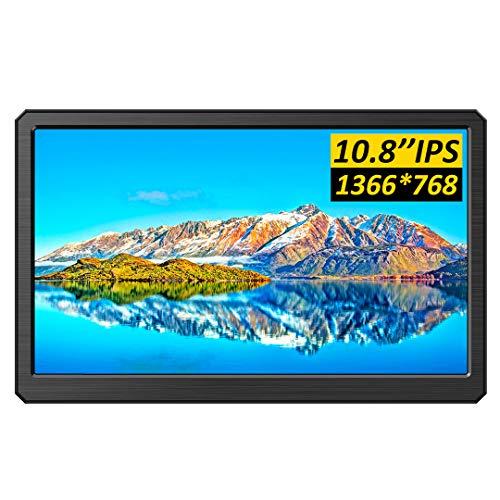 10.8インチ USB 小型 モニター 1366x768高解像度 軽量超薄 1080p液晶 ディスプレイ ラズパイ 持ち運び便利 モバイルモニター 広視野角 LCDブルーライト軽減 標準HDMI Type C 入力 スピーカー内蔵日本語ガイドブッ
