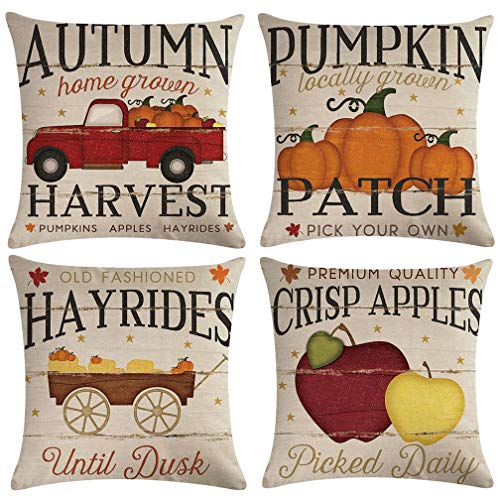 ULOVE LOVE YOURSELF 4Pack Autumn Harvest Throw Pillow Covers Pumpkin Patch with Vintage Red Truck Farmhouse Decorative Cushion Covers Pillowcases,18×18 Inches