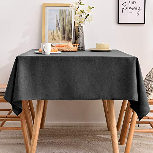 Drak Gray Tablecloths Rectangle Faux Linen Table Cloth, Washable Table Cover for Kitchen Dinning Tabletop Buffet Decoration, Large Oblong Table Cloths