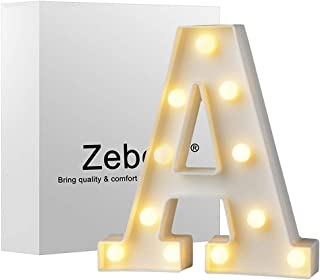 Zebery Led Letters Lights Alphabet Warm White LED Letter Light Up Alphabet Letter Lights for Bachelorette Party Wedding Receptions Holiday Home & Bath Bridal Bar Décor A