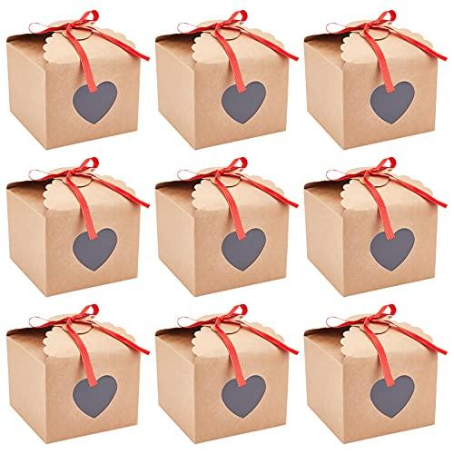 NBEADS 12 Cajas de Horno, Cajas de Regalo rectangulares de cartón con Vitrina de PVC en Forma de corazón, Cajas para Galletas Kraft para Galletas, Paquete de Donuts y Joyas