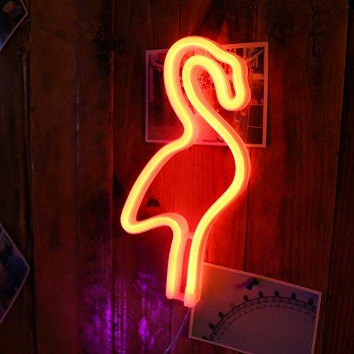 Flamingo Leuchtreklamen LED Decor Nachtlicht Wand Dekor für Weihnachtsdekoration Geburtstag Party Startseite LED dekorative Lichter Hochzeit Event Bankett Party Decor, Batterie und USB Power (rot)