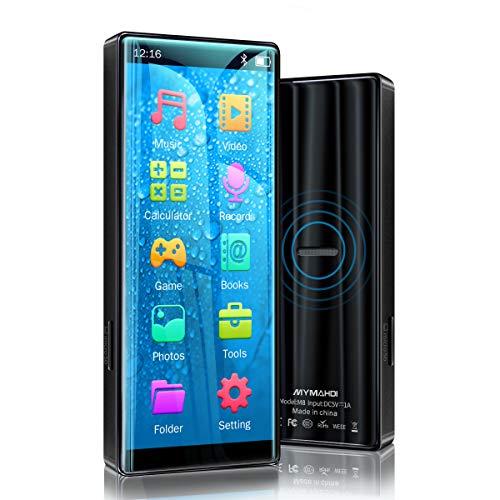 Lecteur MP3 MYMAHDI, Haute résolution et écran Tactile Complet, Lecteur Audio sans Perte HiFi avec Radio FM, Bluetooth 5.0, enregistreur Vocal, Prise en Charge de 8 Go jusqu'à 128 Go , Noir