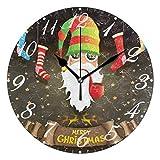 FETEAM Feliz Navidad Papá Noel Reloj de Pared, Reno de Invierno Relojes de Copo de Nieve Reloj de Escritorio Vintage de 10 Pulgadas de Cuarzo