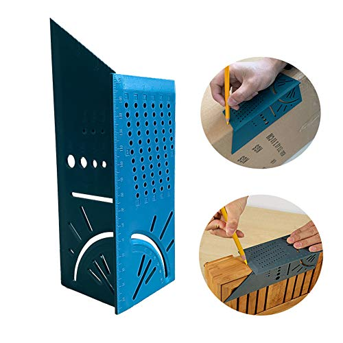 Woodworking 3D Mitre Angle Measuring Tools Multi-function Angle Ruler for Builders Carpenters Craftsmen Architects 45 Degree 90 Degree Line Ruler for Timber Pipes Mitre Angle