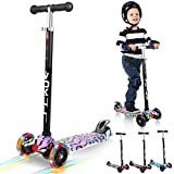 VOKUL Kick Scooter for Kids 3 Wheel Scooter for Toddlers Girls & Boys, 4 Adjustable Height, Lean to Steer with LED Light Up Wheels for Children from 3 to 12 Years Old …